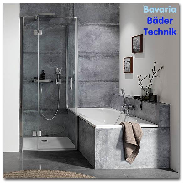 Duschwand mit pendelbarer Duschtür in München