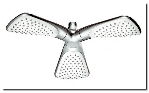Kopfbrause mit drei Brauseköpfen im Propellerdesign