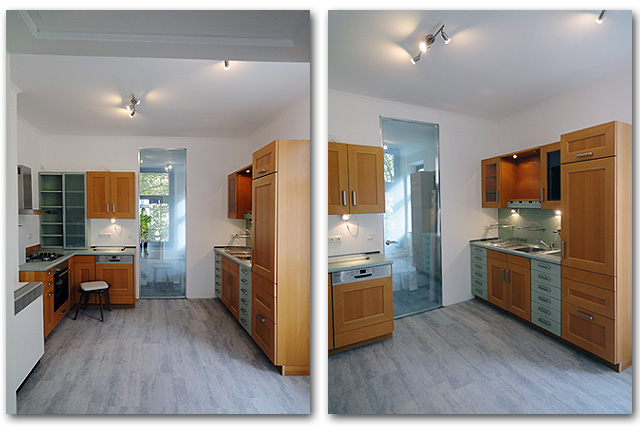 Die fertiggestellte Küche nach dem Sanieren der Wohnung